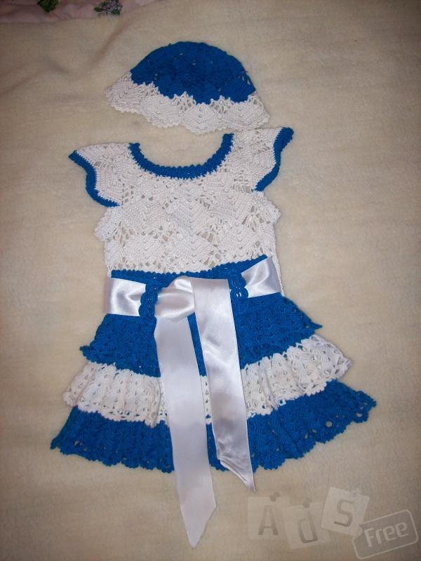 Летний вязаный комплект-платье д.девочки