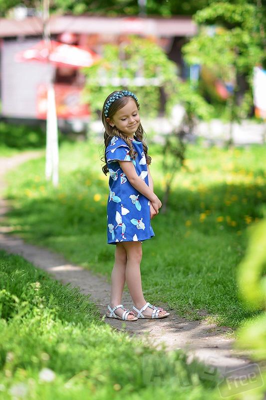Синее платье из стрейч-атлас
