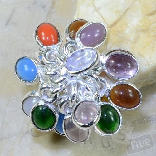 кольцо с нат камнями серебро 925 пр 19 р