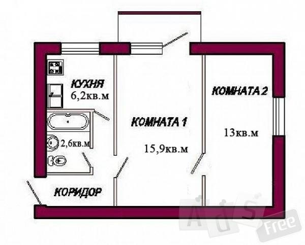 продается двухкомнатная квартира в Севас