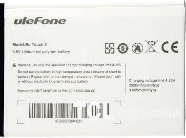 Ulefone Be Touch 3 2550mAh Li-polymer