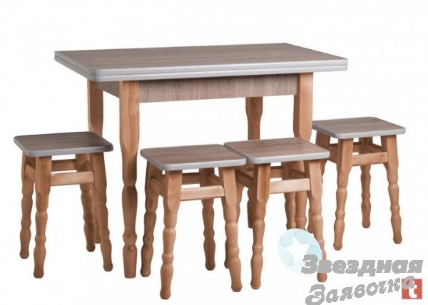Стол Кухонный Раскладной + 4 Табурета
