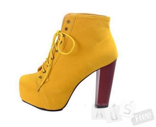 Ботинки желтый цвет