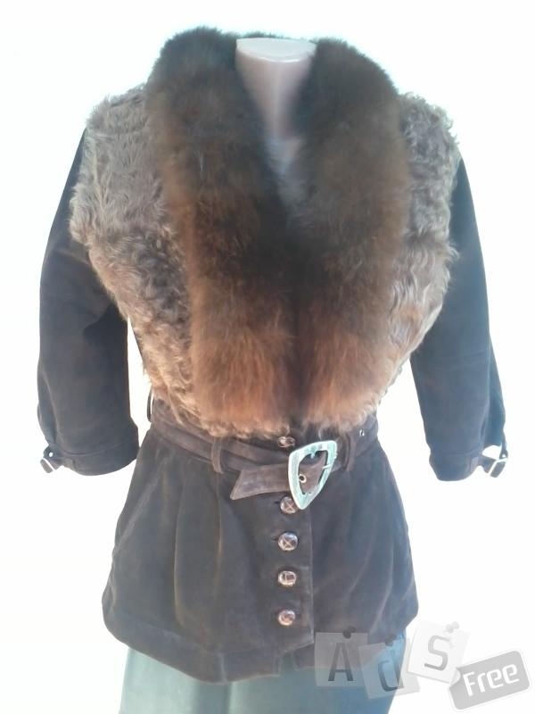 Куртка-натуральная замша,отделка-козлик,воротник-песец.