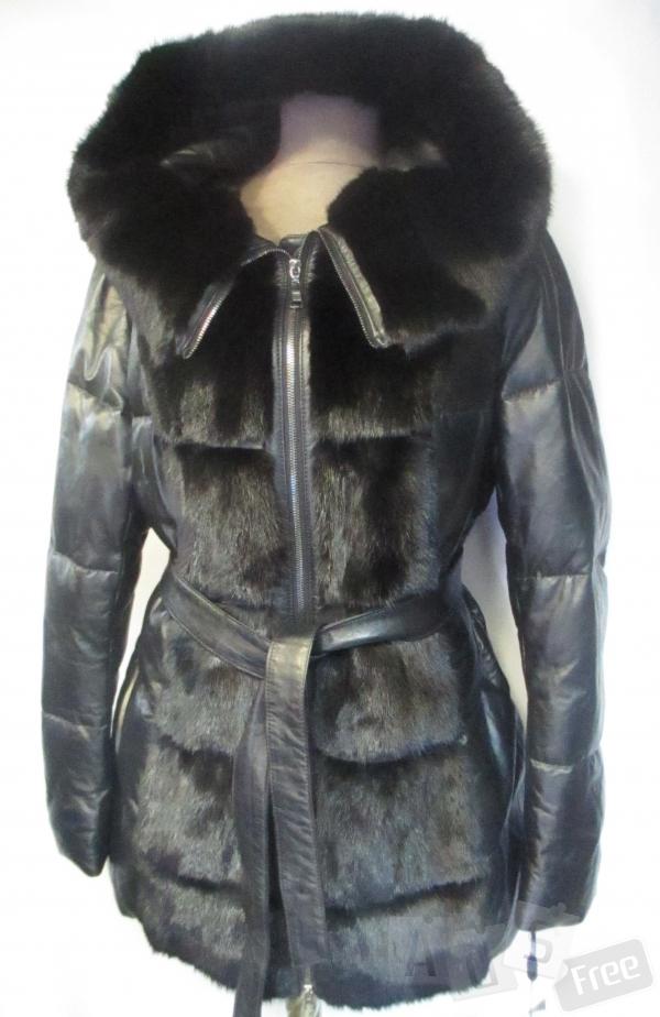Итальянская кожаная куртка с норкой