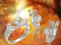 комплект серебро с золотыми встав