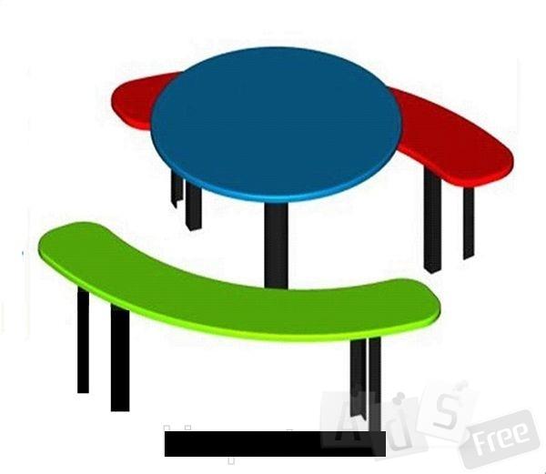 Столик с лавками Круглый
