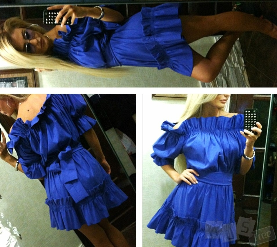 Короткое платье рюши