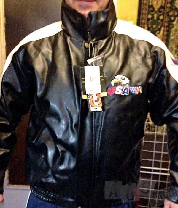 Мужская зимняя кожаная куртка XL
