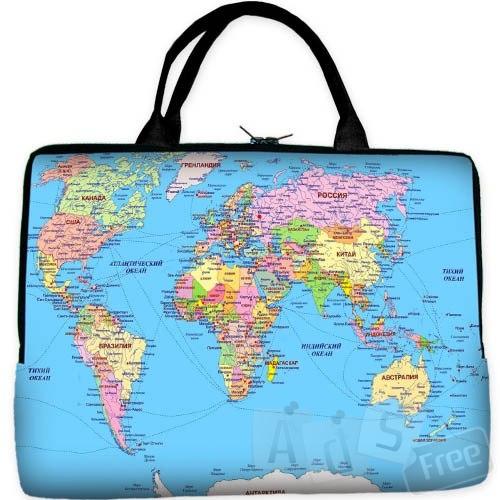 Сумка для ноута (карта мира)