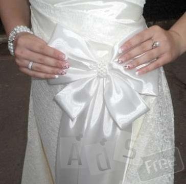 Свадебное платье шампань с жемчугом