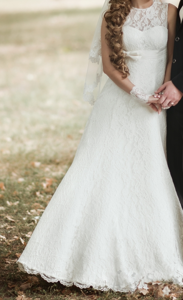 Кружевное свадебное платье, цвет айвори