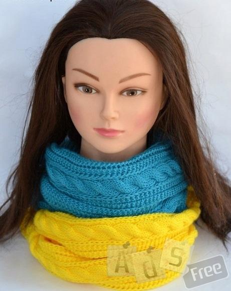 Шарф-снуд. Широкий шарф в виде кольца.